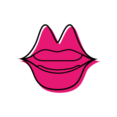 color mouth with lipstick in the lips fashion makeup vector illustration Ilustrace