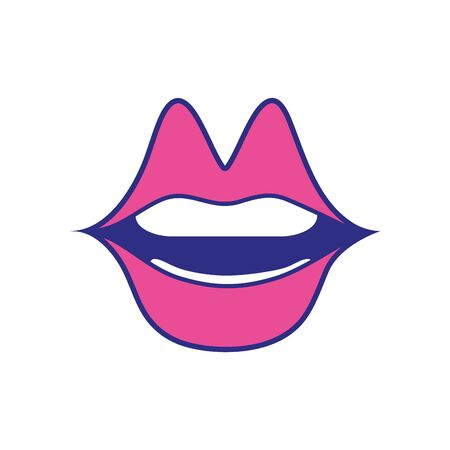 Mouth with pink lipstick illustration. Ilustrace