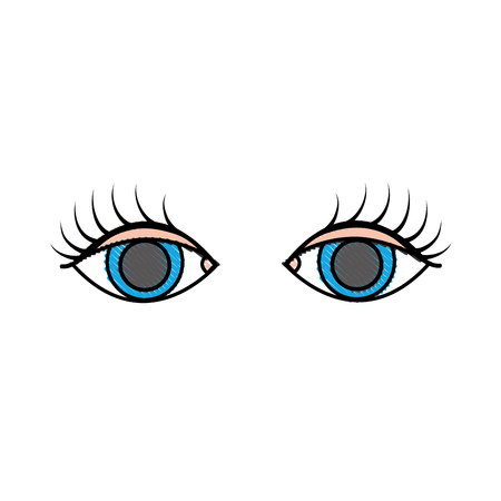 grated vision eyes with eyelashes style design vector illustration