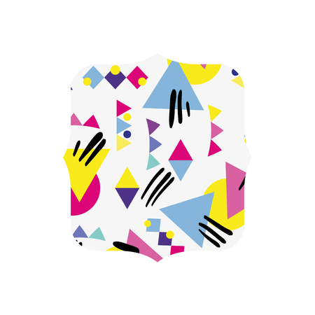 quadrate with memphis geometric style background vector illustration