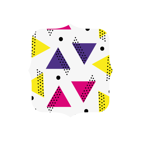 quadrate with memphis graphic abstract background vector illustration