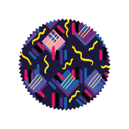 A circle with graphic memphis geometric background Illustration