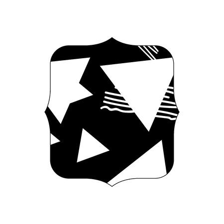 Contour quadrate with geometric figure stye background vector illustration Illustration