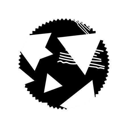 contour circle with geometric figure stye background vector illustration Illustration
