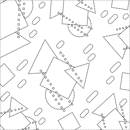 dotted shape geometric figures memphis style background vector illustration