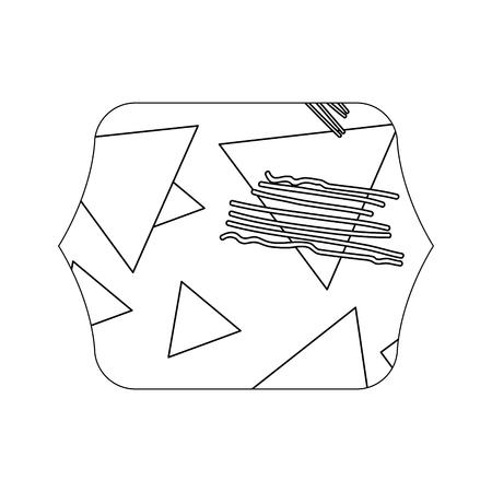 edge quadrate with geometric figure stye background vector illustration