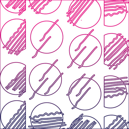 Color line abstract circle Memphis style background, vector illustration.