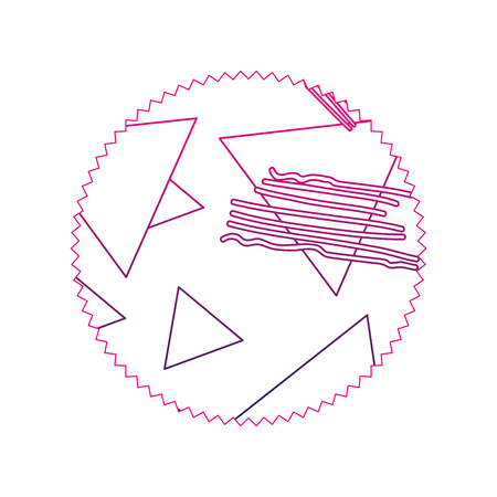 color line circle with geometric figure stye background vector illustration