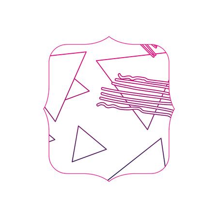 color line quadrate with geometric figure stye background vector illustration