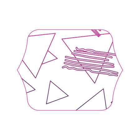 color edge quadrate with geometric figure stye background vector illustration Illustration