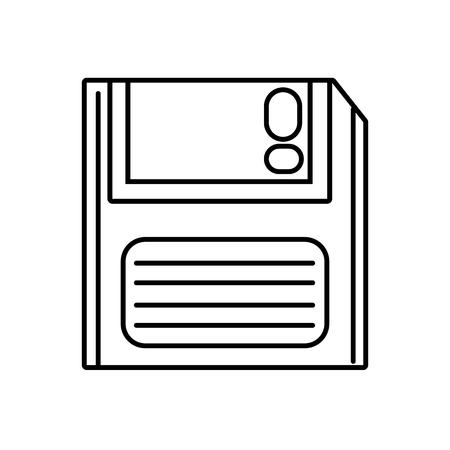 Line retro diskette technology with data information, vector illustration. Illustration