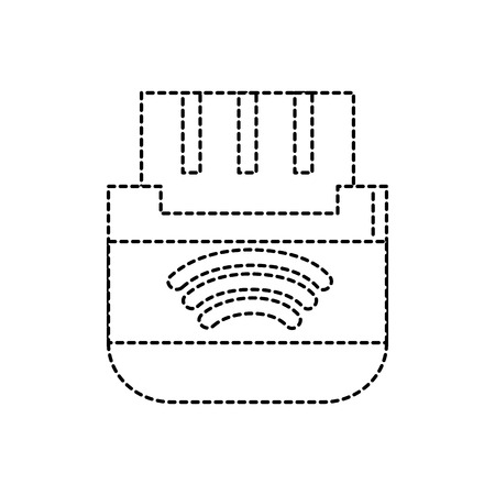 Dotted shape usb memory technology to save data information, vector illustration.