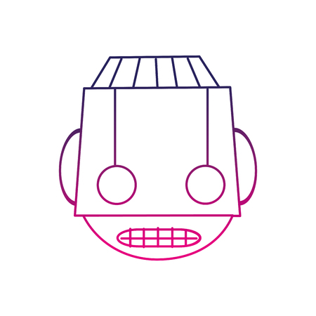 Color line robot head technology with eyes and mouth vector illustration