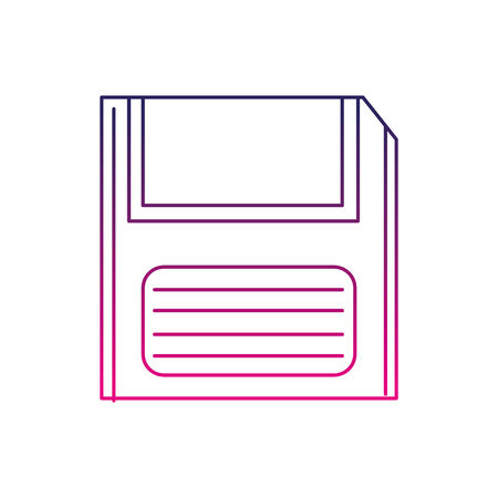 Color line retro diskette technology with data information, vector illustration.
