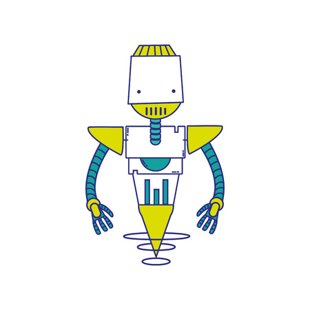 full color technology robot with machine robotic body vector illustration