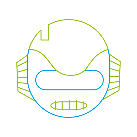 color line technology robot head with ears and mouth vector illustration