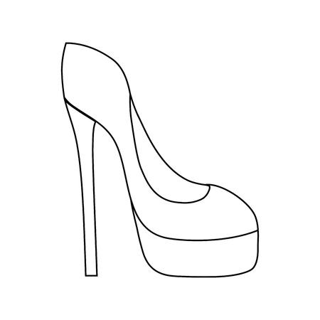 line fashion heels high shoes style vector illustration Ilustração