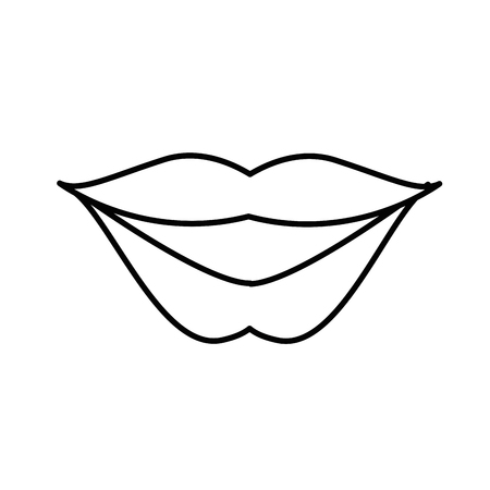 line fashion mouth with lipstick makeup in the lips vector illustration