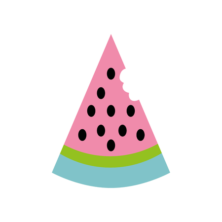 colorful delicious watermelon fruit with organic nutrition vector illustration Illustration