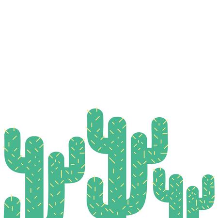colorful tropical natural cactus plants design vector illustration
