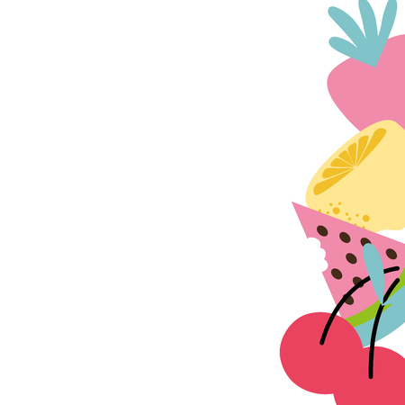 A colorful delicious fresh fruits background design vector illustration