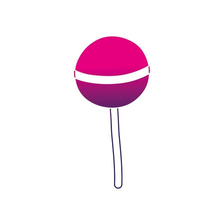 A silhouette delicious sweet lollipop candy dessert vector illustration