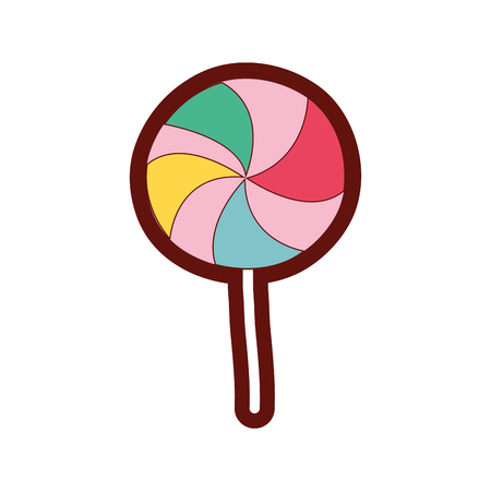 A full color delicious sweet lollipop candy dessert vector illustration