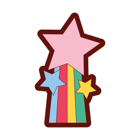 A full color shiny stars design with rainbow icon vector illustration