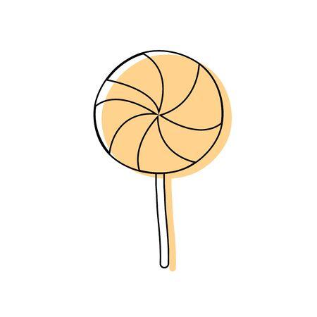 color delicious spiral lollipop candy caramel vector illustration