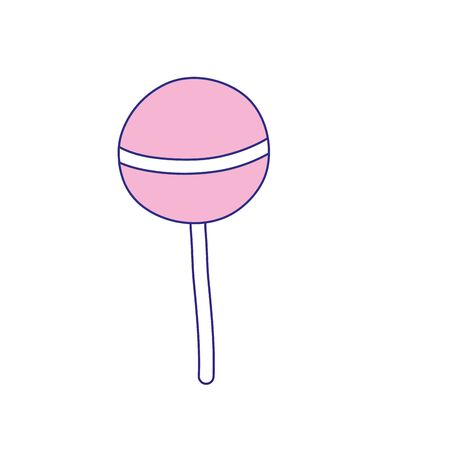 line color delicious sweet lollipop candy dessert vector illustration