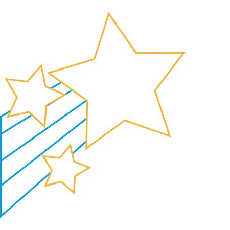 Sparkly stars in the sky with rainbow design  illustration. Illustration