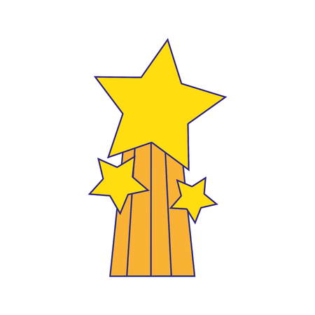 Shiny stars design with rainbow icon  in thin line style  illustration
