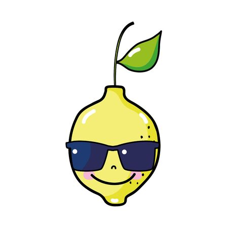 Lemon fruit with sunglasses illustration.
