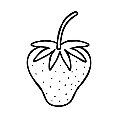 line delicious strawberry fresh and organic fruit Illustration