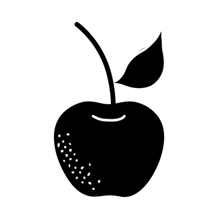 contour organic apple fruit with nutrition and vitamin Illustration