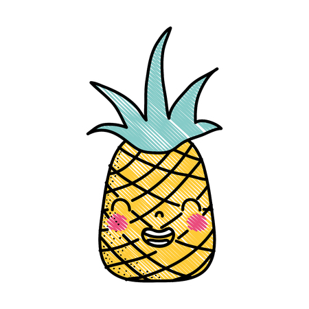 Grated cute pineapple, smile, fruit in cartoon vector illustration. Illustration