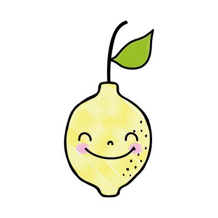 Grated cute happy lemon fruit in cartoon vector illustration. Иллюстрация