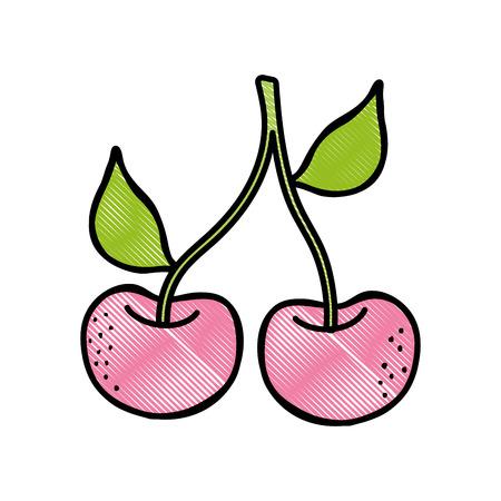 Fresh, delicious cherries  fruit illustration Иллюстрация