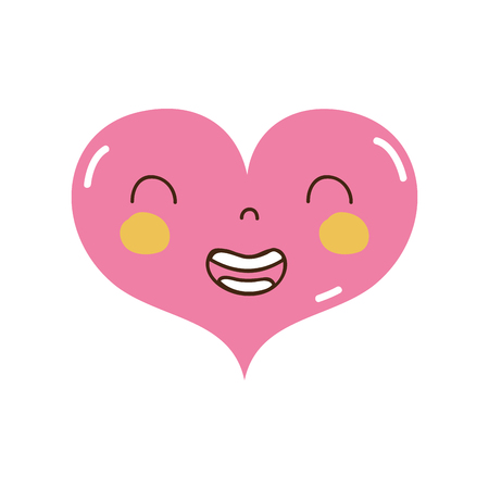 colorful smile heart  with facial expression vector illustration