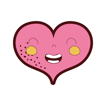 line color smile heart kawaii with facial expression vector illustration