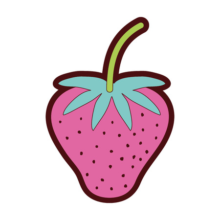 line color delicious strawberry fresh and organic fruit vector illustration Illustration