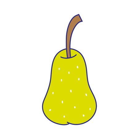 full color delicious pear fresh and organic fruit vector illustration
