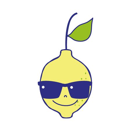 Full color happy lemon fruit with sunglasses kawaii vector illustration Illustration