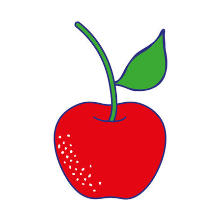 line color organic apple fruit with nutrition and vitamin vector illustration
