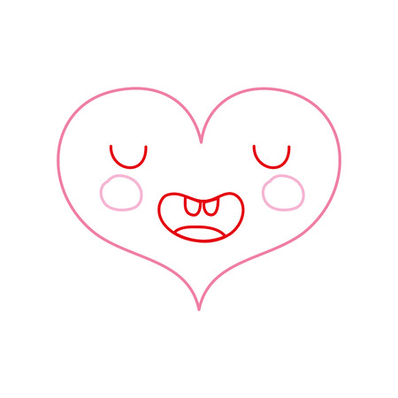 color line funny heart kawaii with facial expression vector illustration Illustration