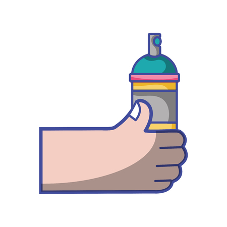 Hand with aerosol spray paint art vector illustration