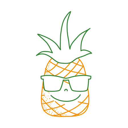 Color line happy pineapple fruit with sunglasses kawaii