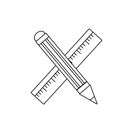 line ruler and pencil school tool education Ilustracja