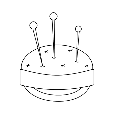 line pin and pincushion sewing tool object Illustration