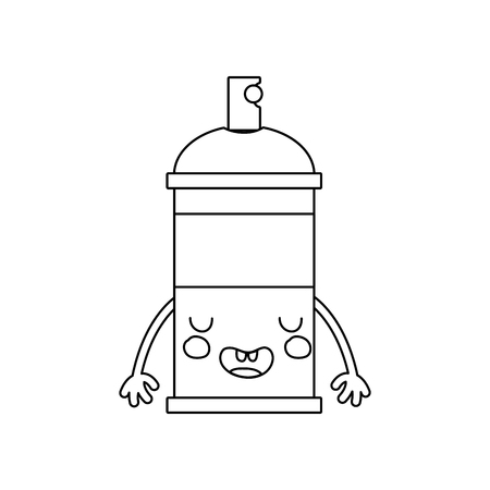 Line kawaii cue, funny aerosol spray, vector illustration